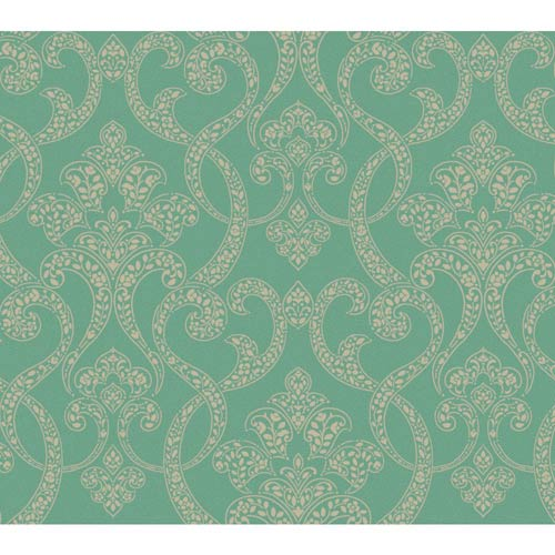 York Wallcoverings Passport Emerald Green, Silver and Champagne Gold Wallpaper: Sample Swatch Only