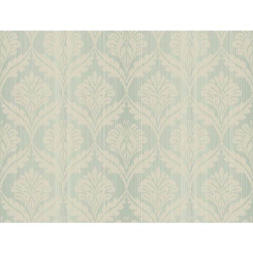 York Wallcoverings Passport Turquoise and Cream Wallpaper: Sample Swatch Only