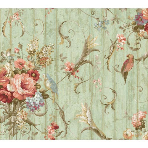 York Wallcoverings Inspired by Color Blue Floral Bouquets Wallpaper: Sample Swatch Only