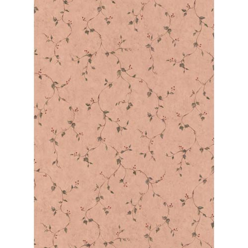 Welcome Home Pinkish Taupe, Taupe, Sage Green and Red Rose Hip Vine Wallpaper: Sample Swatch Only
