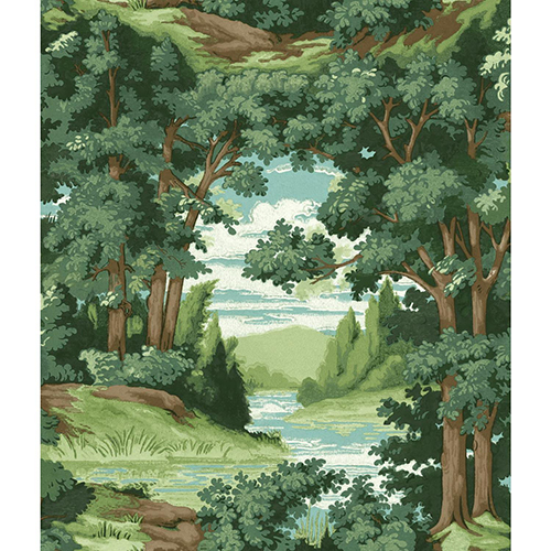 York Wallcoverings Tailored Green and Blue Scenic Wallpaper