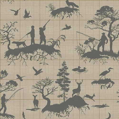 Tailored Tan Toile Wallpaper