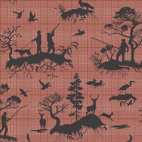 Tailored Red Toile Wallpaper - SAMPLE SWATCH ONLY