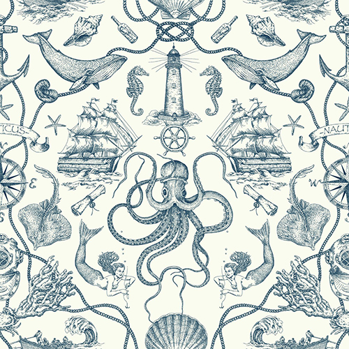 Tailored Blue Toile Wallpaper