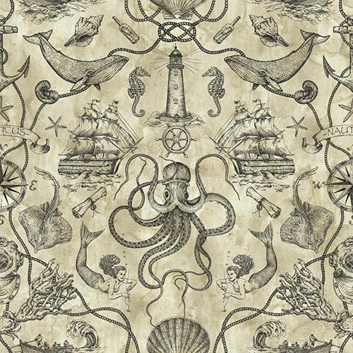 Tailored Tan Toile Wallpaper