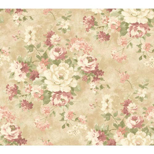 Handpainted III Cream and Beige Painterly Bouquet Wallpaper