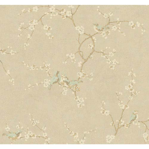 York Wallcoverings Handpainted III Soft Gold Birds with Blossoms Wallpaper
