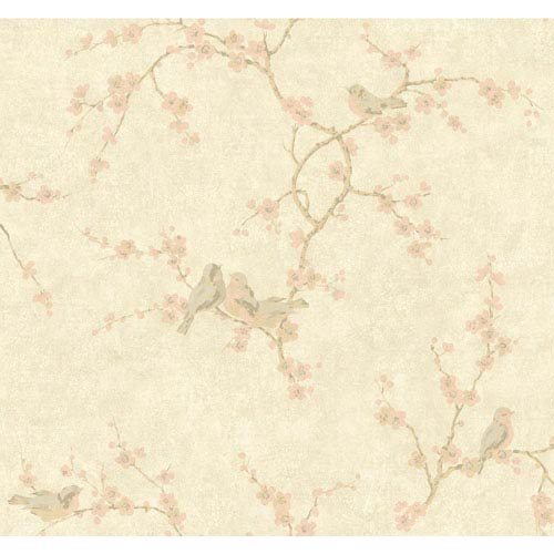 York Wallcoverings Handpainted III Pale Gold Birds with Blossoms Wallpaper