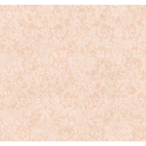 York Wallcoverings Handpainted III Light Pink Floral Damask Wallpaper