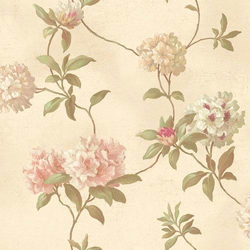 York Wallcoverings Handpainted III Beige Rhodedendrum/Script Wallpaper: Sample Swatch Only