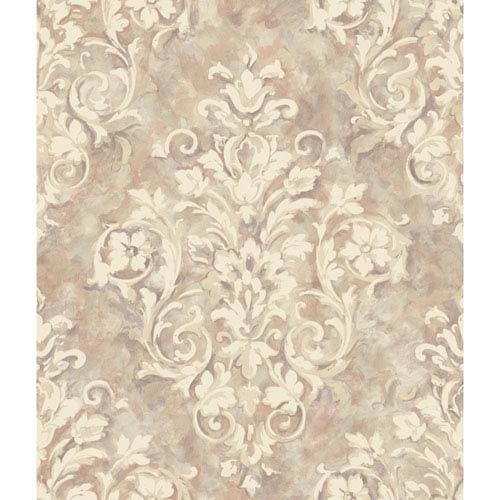 Handpainted III Silver and Light Purple Painterly Damask Wallpaper