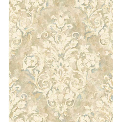 York Wallcoverings Handpainted III Cream and Beige Painterly Damask Wallpaper: Sample Swatch Only