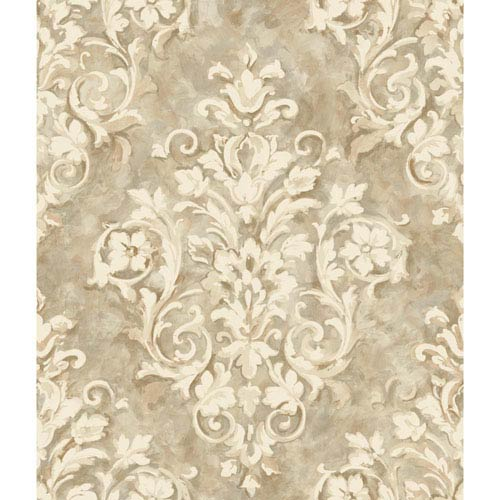 Handpainted III Silver and Beige Painterly Damask Wallpaper: Sample Swatch Only
