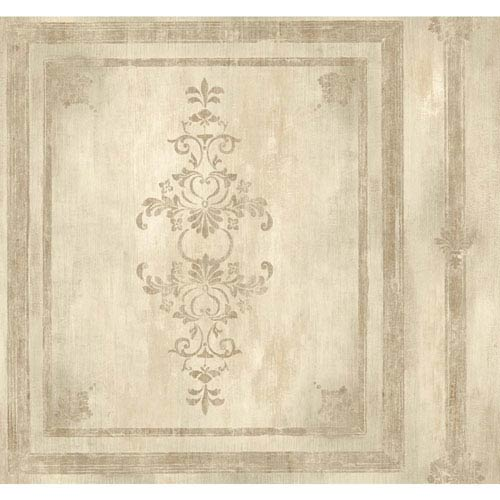 York Wallcoverings Handpainted III Cream and Silver Architectural Panel Wallpaper: Sample Swatch Only