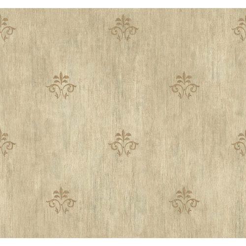Handpainted III Beige and Gold Classic Fleur De Lis Wallpaper
