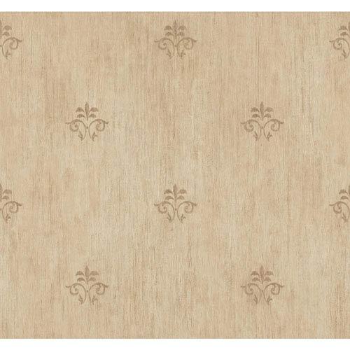 York Wallcoverings Handpainted III Gold and Grey Classic Fleur De Lis Wallpaper