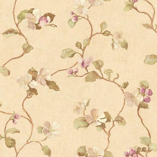 York Wallcoverings Handpainted III Beige Floral Spray Wallpaper: Sample Swatch Only