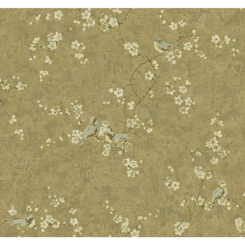 York Wallcoverings Handpainted III Bronze Birds with Blossoms Wallpaper: Sample Swatch Only