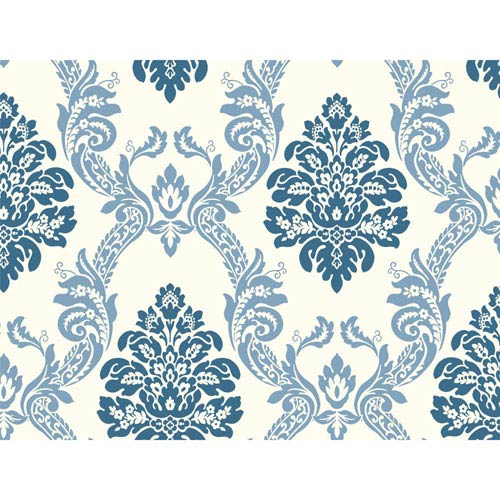 York Wallcoverings Pattern Play Ogee Damask Wallpaper: Sample Swatch Only