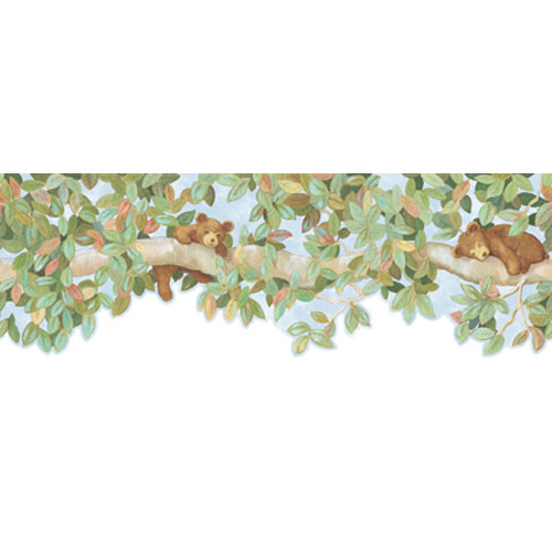 York Wallcoverings York Kids Green and Brown IV Bear/Branch Border: Sample Swatch Only