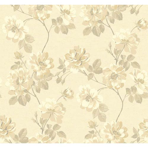 York Wallcoverings Opal Essence Beige and Ecru Wild Rose Wallpaper: Sample Swatch Only