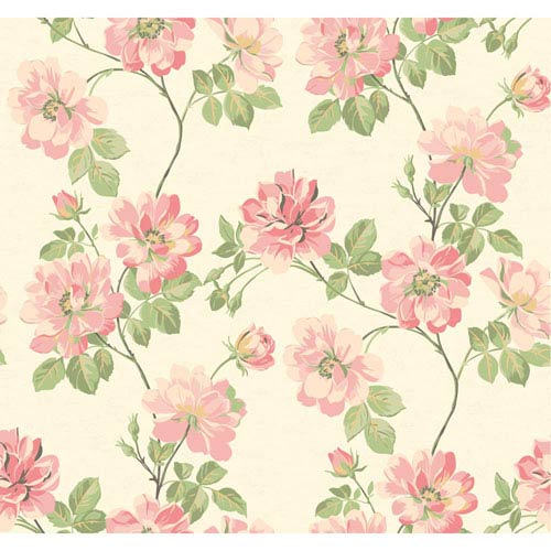York Wallcoverings Opal Essence White and Pink Wild Rose Wallpaper: Sample Swatch Only