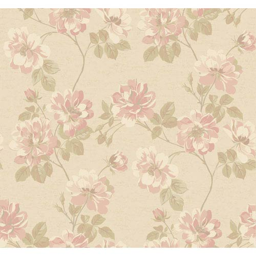 York Wallcoverings Opal Essence Soft Gold And Pink Wild Rose Wallpaper