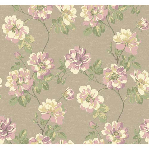 York Wallcoverings Opal Essence Taupe and Purple Wild Rose Wallpaper: Sample Swatch Only