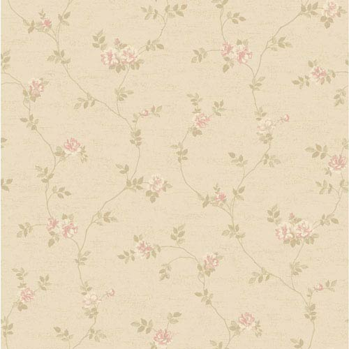 York Wallcoverings Opal Essence Soft Gold and Cream Small Vine Wallpaper: Sample Swatch Only