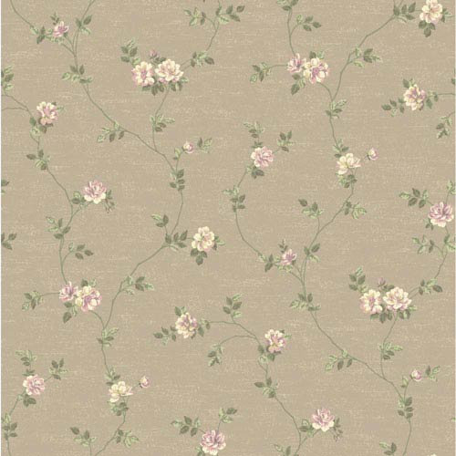 Opal Essence Taupe and Purple Small Vine Wallpaper: Sample Swatch Only