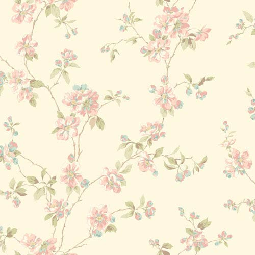 Opal Essence Off-White Apple Blossom Wallpaper: Sample Swatch Only