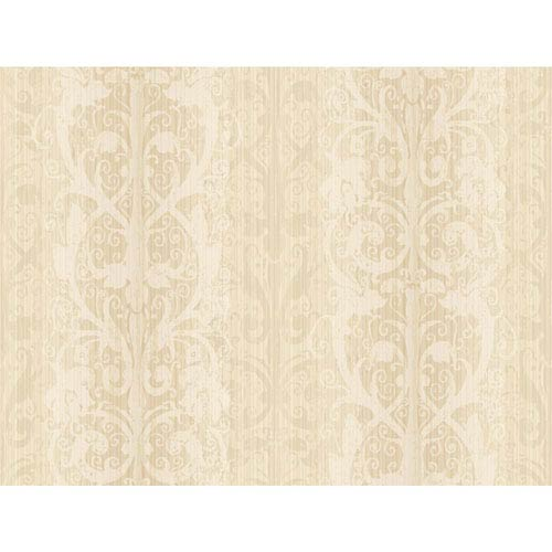 York Wallcoverings Opal Essence Soft Gold and Cream Ironwork Stripe Wallpaper: Sample Swatch Only