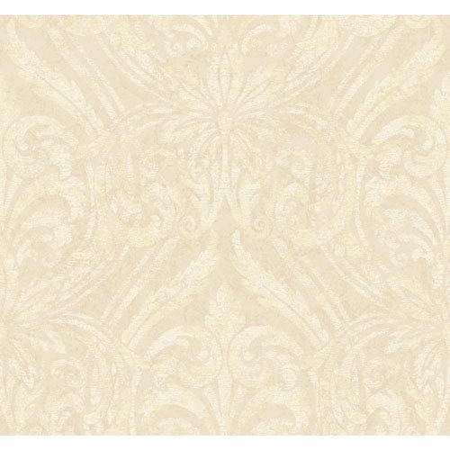 York Wallcoverings Opal Essence Cream and Gold Glitter Damask Wallpaper