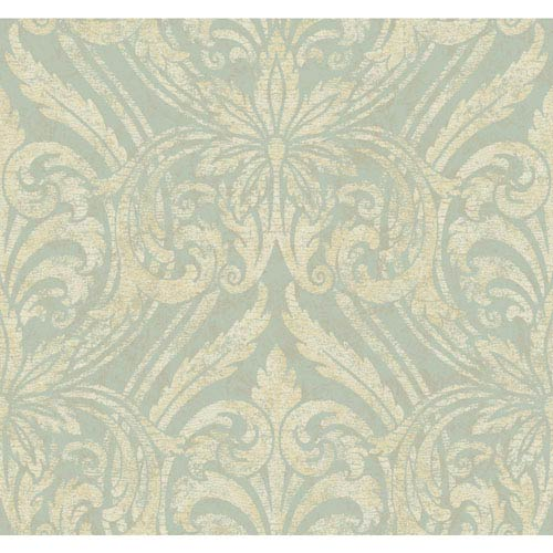 York Wallcoverings Opal Essence Aqua and Gold Glitter Damask Wallpaper: Sample Swatch Only