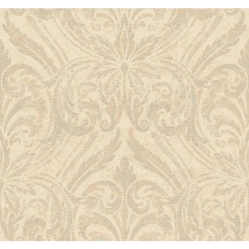 York Wallcoverings Opal Essence Cream and Beige Glitter Damask Wallpaper: Sample Swatch Only