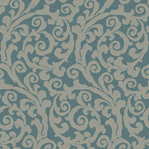 Opal Essence Peacock Blue and Grey Raised GT Scroll Wallpaper: Sample Swatch Only