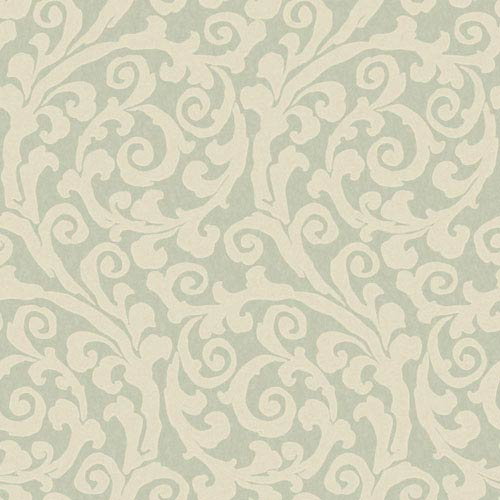 York Wallcoverings Opal Essence Aqua and Cream Raised GT Scroll Wallpaper: Sample Swatch Only