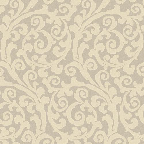 York Wallcoverings Opal Essence Silver and Cream Raised GT Scroll Wallpaper: Sample Swatch Only