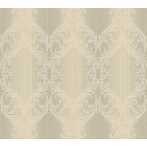 York Wallcoverings Opal Essence Silver and Cream Open Frame Wallpaper: Sample Swatch Only