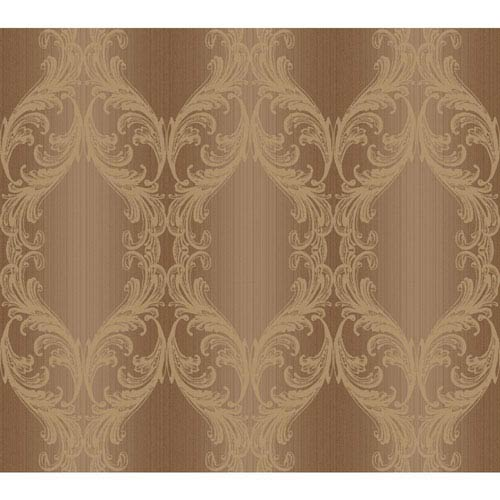 York Wallcoverings Opal Essence Brown and Gold Open Frame Wallpaper
