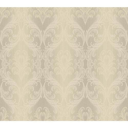 York Wallcoverings Opal Essence Silver and Cream Full Frame Wallpaper: Sample Swatch Only