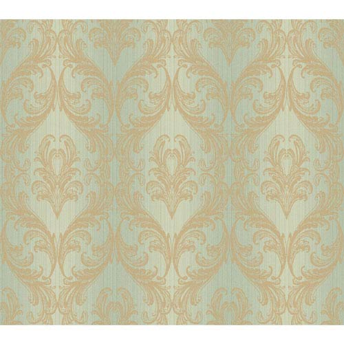 York Wallcoverings Opal Essence Aqua and Gold Full Frame Wallpaper: Sample Swatch Only