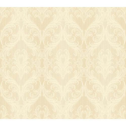 York Wallcoverings Opal Essence Soft Gold and Cream Full Frame Wallpaper