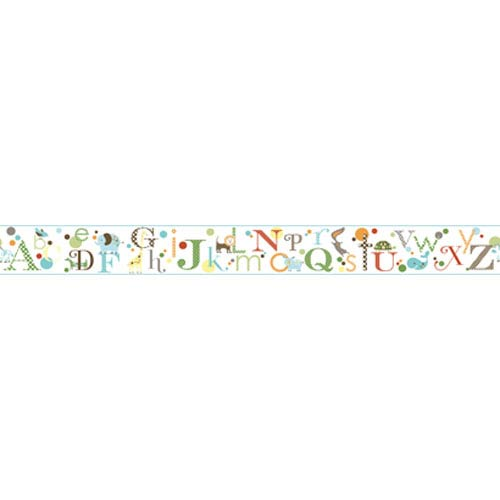 York Wallcoverings Friends Forever Blue and Green and Light Blue Band Alphabet Border