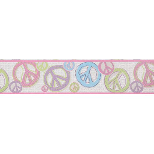 York Wallcoverings Friends Forever Silver Background and Pink and Black Peace & Love Sign Border: Sample Swatch Only
