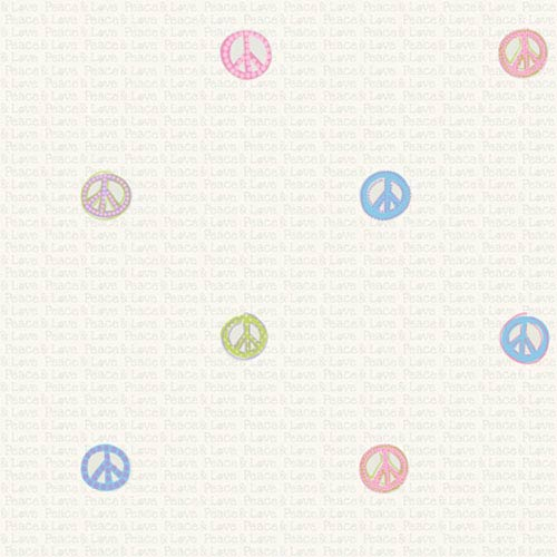 York Wallcoverings Friends Forever Light Pastels Peace Sign Wallpaper