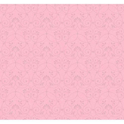 York Wallcoverings Friends Forever Light Pink Glitter Scroll Wallpaper