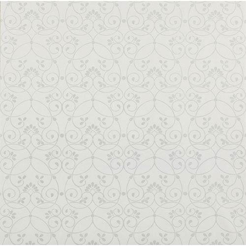 York Wallcoverings Friends Forever White Glitter Scroll Wallpaper: Sample Swatch Only
