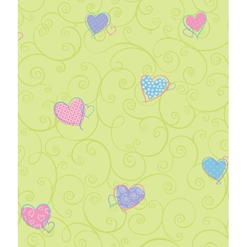 York Wallcoverings Friends Forever Green Pastel Colorful Hearts Wallpaper: Sample Swatch Only