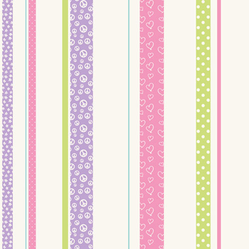 York Wallcoverings Friends Forever Purple and Green and Pink Patterned Stripe Wallpaper: Sample Swatch Only